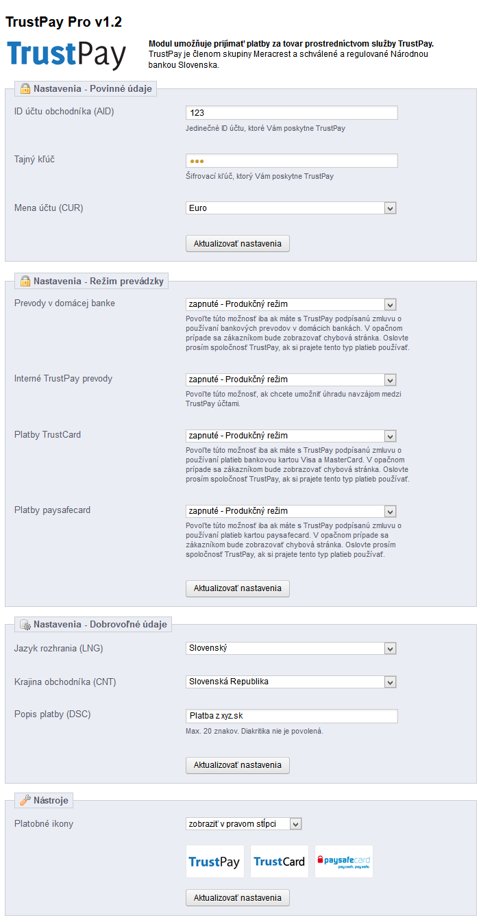 Platobný modul TrustPay PRO pre PrestaShop
