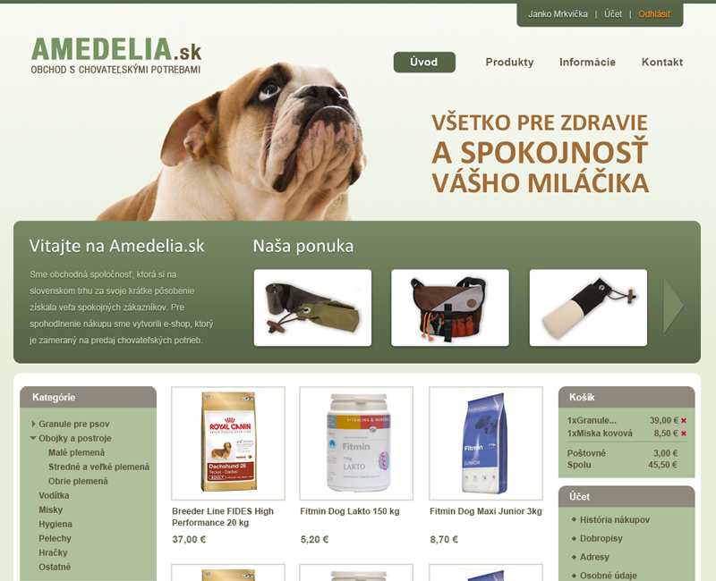 amadelia.sk - e-shop s krmivom a chovateľskými doplnkami