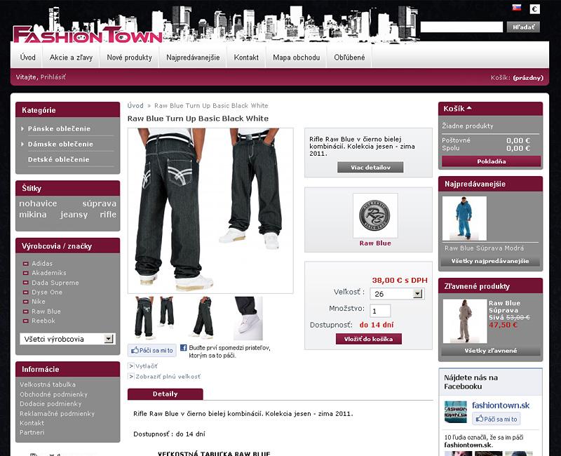 fashiontown.sk - e-shop pre predaj oblečenia pre mladých.