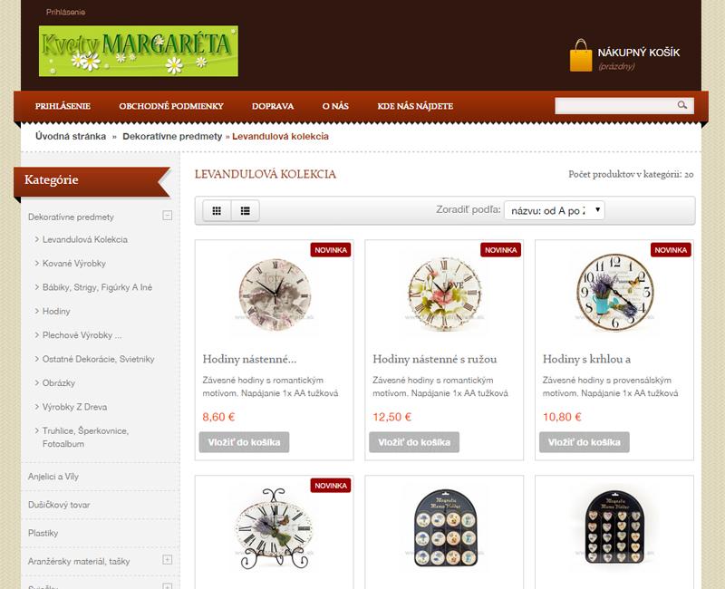 kvety-margareta.sk - e-shop určený pre veľkoobchodný predaj živých rezaných kvetov a dekoratívnych predmetov