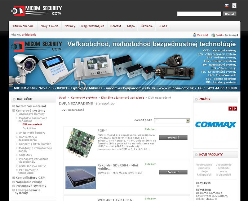Upgrade a redizajn e-shopu micom-cctv.sk.