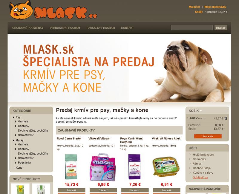 Mlask.sk - e-shop pre predaj krmiva a doplnkov pre psy a mačky