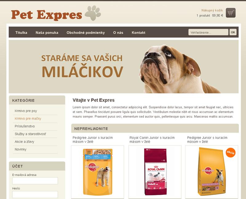 Pet-Expres.sk - E-shop pre predaj krmiva a doplnkov pre psy a mačky