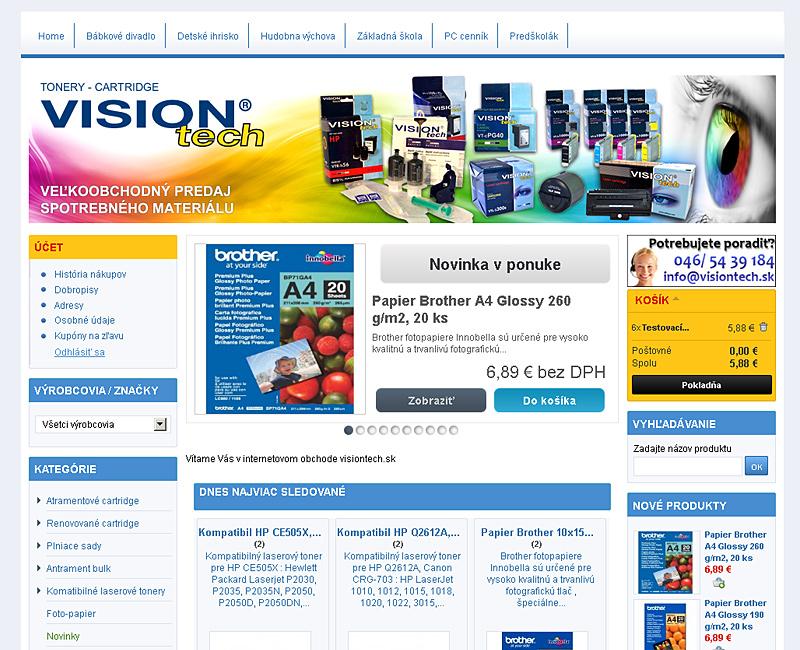 visiontech.sk - e-shop pre predaj tonerov do tlačiarní