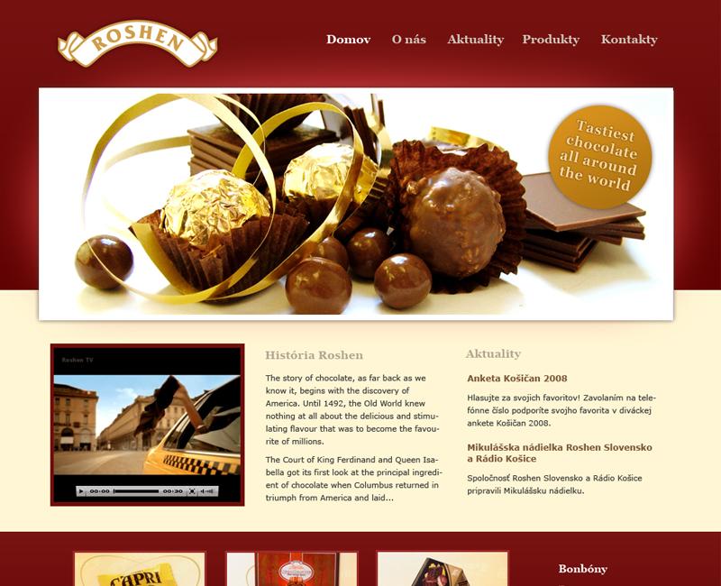 Web výrobcu cukroviniek z čokolády