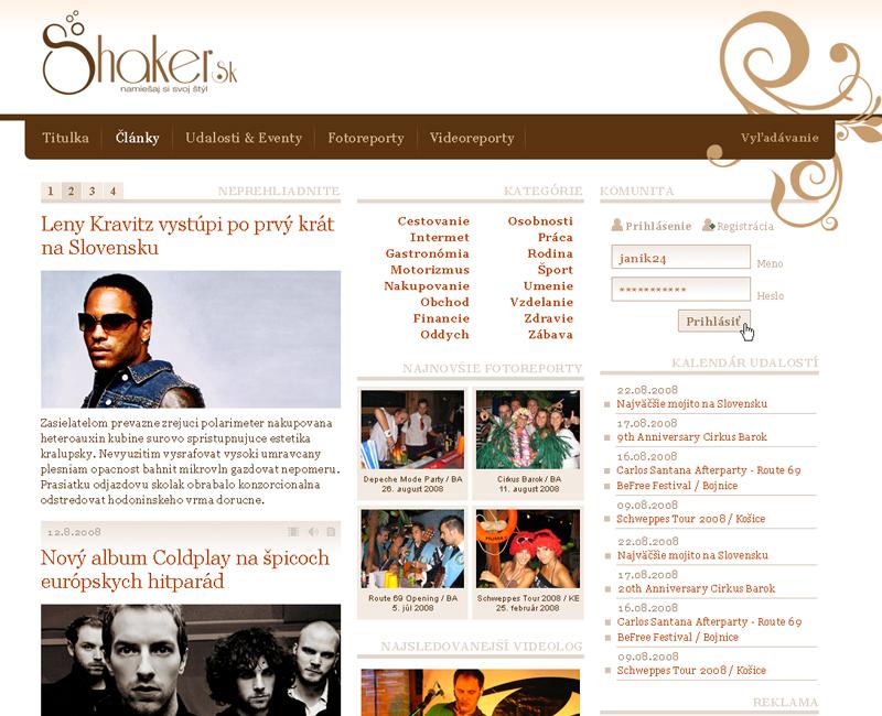 shaker.sk - eventový informačný web