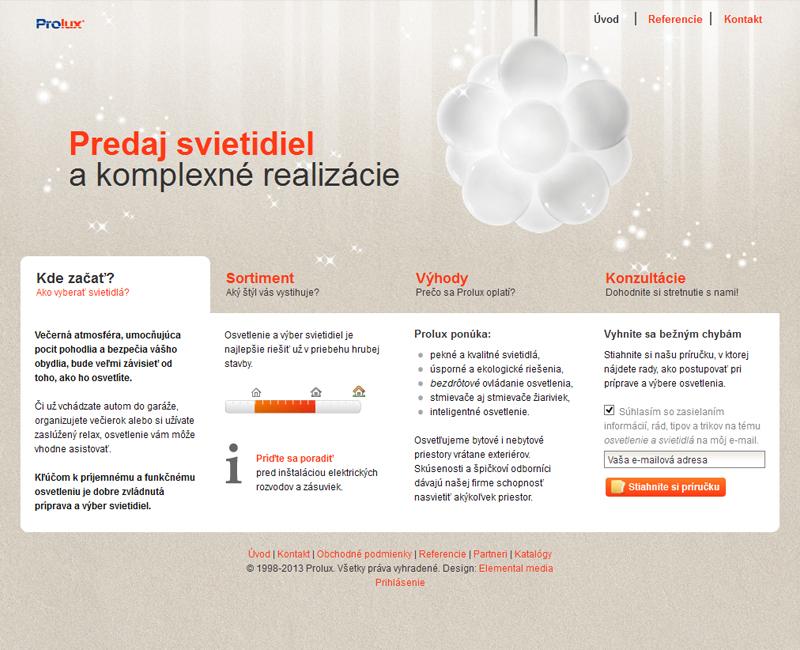 svietidlaprolux.sk - firemný web obchodu so svietidlami